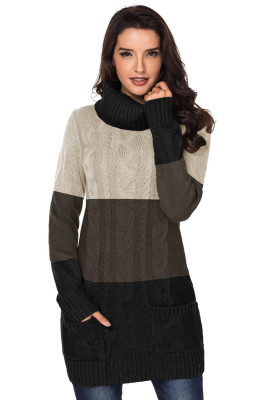 Colorblock Cowl Neck Cable Knit Sweater Dress