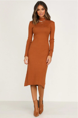 Orange Round Collar Striped Kintted Dresses