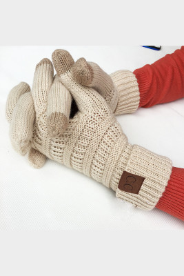Beige Thick With Lable Gloves