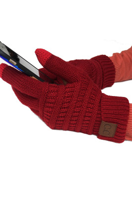 Wine Red Thick With Lable Gloves