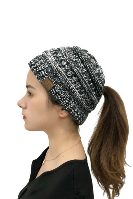 Multi Color Back Opening Solid Knit Beanie