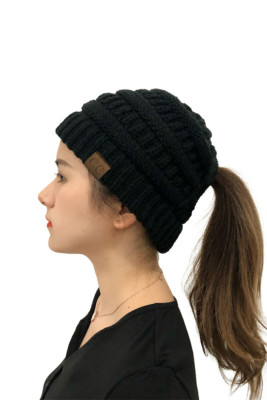 Black Opening Solid Knit Beanie