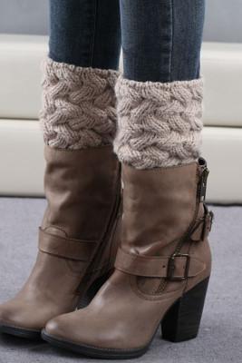 Beige Kintted Warm Socks