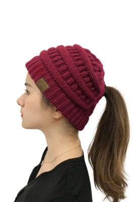 Wine Red Back Opening Solid Knit Beanie
