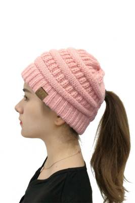 Pink Opening Solid Knit Beanie
