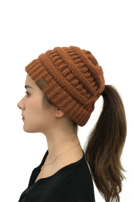 Brown Back Opening Solid Knit Beanie