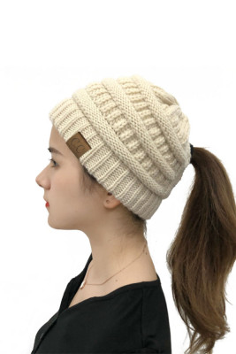 Beige Back Opening Solid Knit Beanie