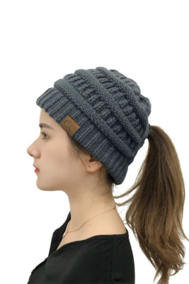Dark Gray Opening Solid Knit Beanie