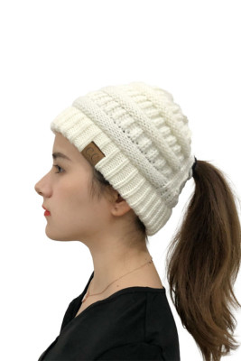 White Opening Solid Knit Beanie