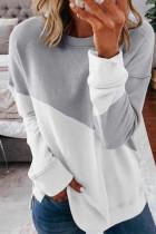 Gray Color Block Loose Sweatshirts