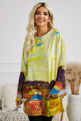 Multi-color Field Printing Long Sleeve Tunic Top With Two Side Pockets