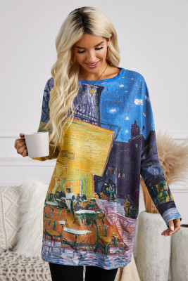 Multi-color Long Sleeve Tunic Top With Two Side Pockets