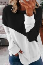Black Color Block Loose Sweatshirts