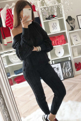 Black Round Neck Two Piece Sweat Suits