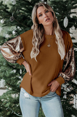 Coffee Sequin Loose Patchwork Tops