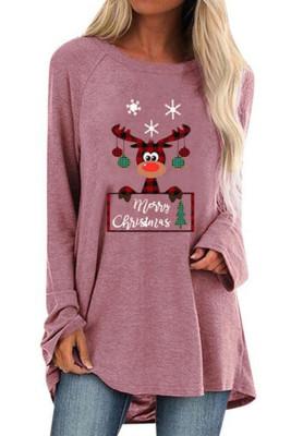 Crew Neck Elk Print Christmas Tunic Top