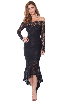 Black Off Shoulder Long Sleeve Lace Bodycon Dress