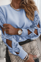Blue Hollow Out Sequin Tops