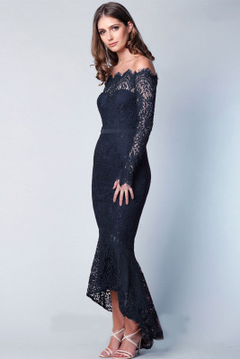 Navy Off Shoulder Long Sleeve Lace Bodycon Dress