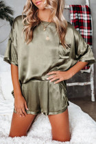 Army Green Short Length Two Piece Lounge Wear