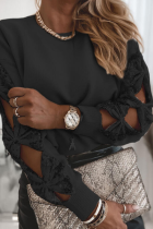 Black Hollow Out Sequin Tops