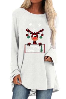 White Crew Neck Elk Print Christmas Tunic Top