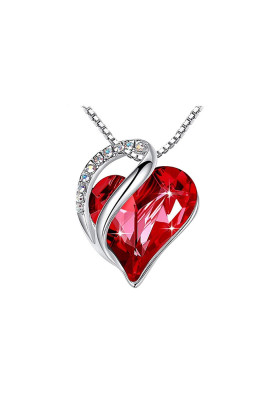 Red Heart Shaped Crystal Pendant Necklace