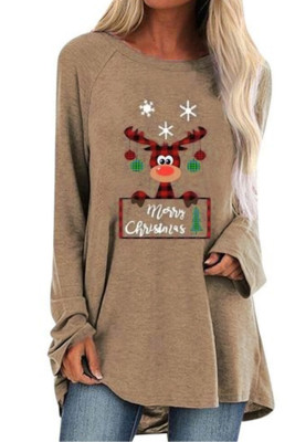 Khaki Crew Neck Elk Print Christmas Tunic Top