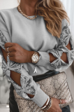 Gray Hollow Out Sequin Tops