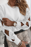 White Hollow Out Sequin Tops