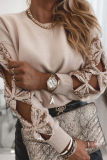 Apricot Hollow Out Sequin Tops