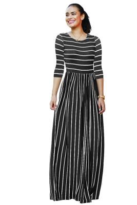 Black Striped Print Three Quarter Sleeve Dresses