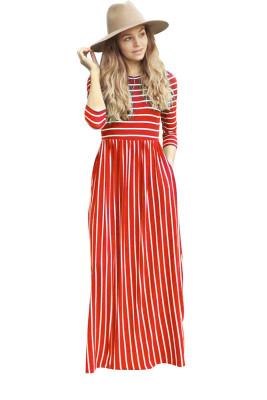Red Striped Print Three Quarter Sleeve Dresses