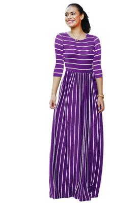 Purple Striped Print Three Quarter Sleeve Dresses