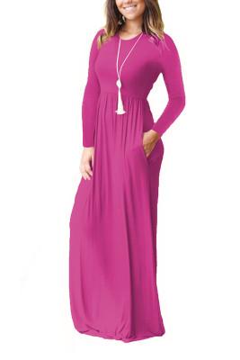 Rose Red Elastic Waist Long Sleeve Maxi Dress