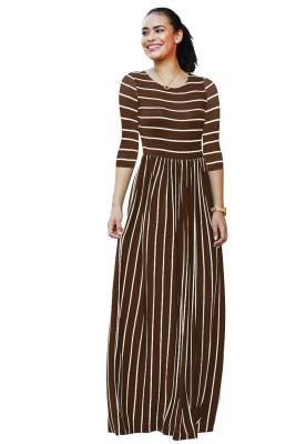 Coffee Striped Print Three Quarter Sleeve Dresses