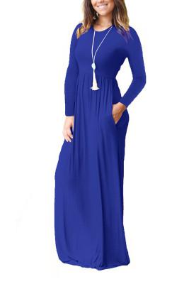 Blue Elastic Waist Long Sleeve Maxi Dress