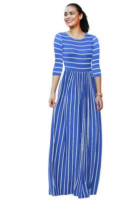Blue Striped Print Three Quarter Sleeve Dresses