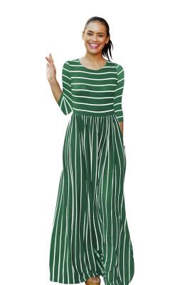 Army Green Striped Print Three Quarter Sleeve Dresses