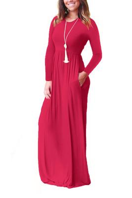 Red Elastic Waist Long Sleeve Maxi Dress