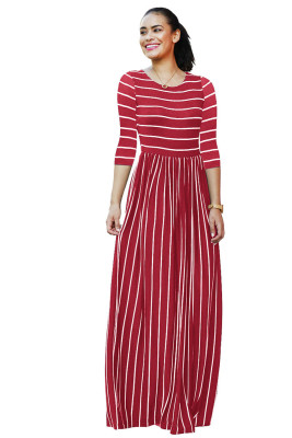 Wine Red Striped Print Three Quarter Sleeve Dresses