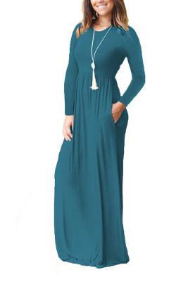 Dark Green Elastic Waist Long Sleeve Maxi Dress