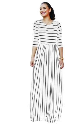 White Striped Print Three Quarter Sleeve Dresses