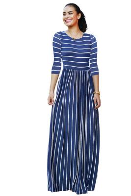 Dark Blue Striped Print Three Quarter Sleeve Dresses