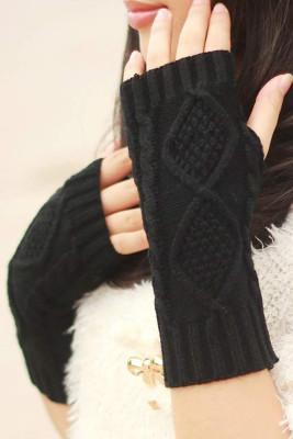 Black Knitted Half Finger Gloves