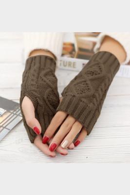 Khaki Knitted Half Finger Gloves