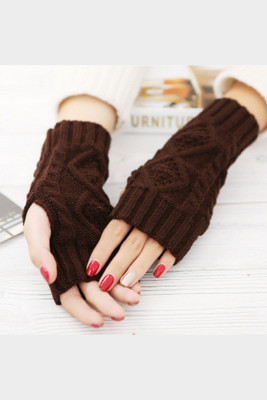 Coffee Knitted Half Finger Gloves
