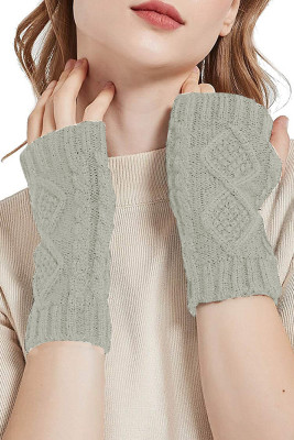 Light Grey Knitted Half Finger Gloves