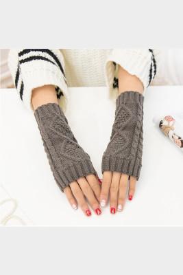 Dark Grey Knitted Half Finger Gloves