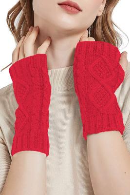 Red Knitted Half Finger Gloves